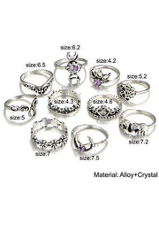 Elephant Moon Ring Set