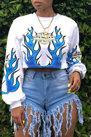 Digital Print High Waist Sweatshirt