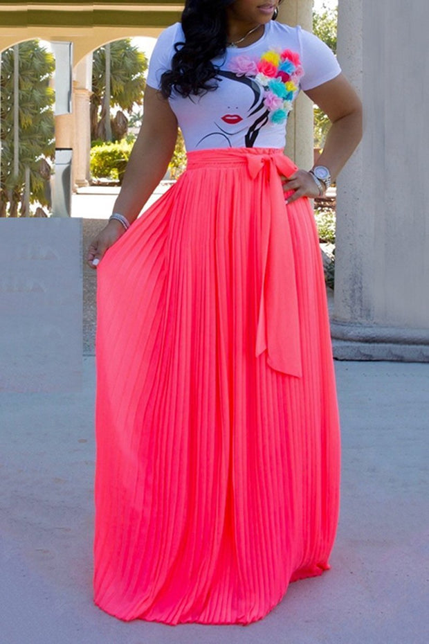 Chiffon Bow Tie Pleated Maxi Skirts