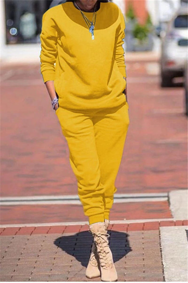 Solid Long Sleeve Pocket Pants Set