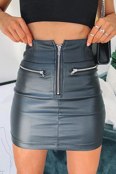 Zipper Bodycon Mini PU Skirts