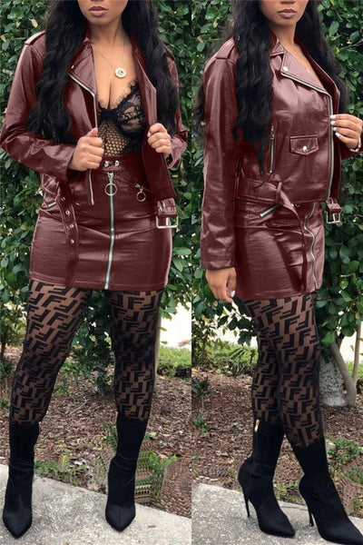 Locomotive Zipper Belt PU Jackets Skirts Set