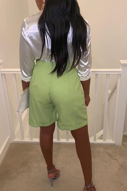 Green High Waist Bermuda Shorts