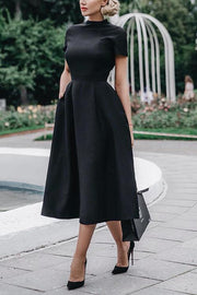 Solid Short Sleeve A Line Dress