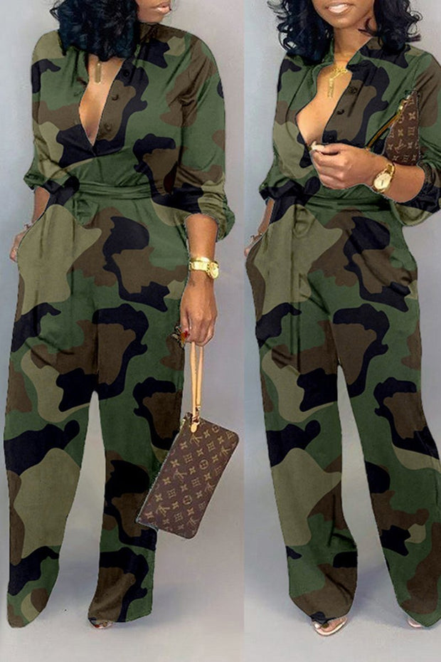 Camouflage Turndown Collar Jumpsuit With Belt