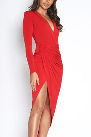 V Neck Long Sleeve Dress