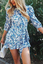 Floral Print Backless Mini Dress