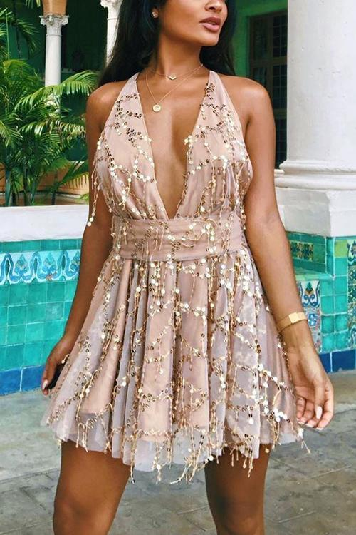 Deep V Neck Sequin Mini Dress