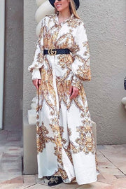 Print Puff Sleeve Shirt Maxi Dress