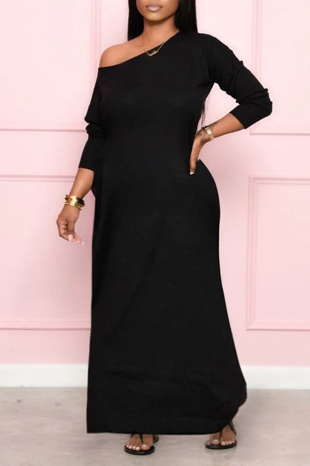 Skew Neck Solid Maxi Dress
