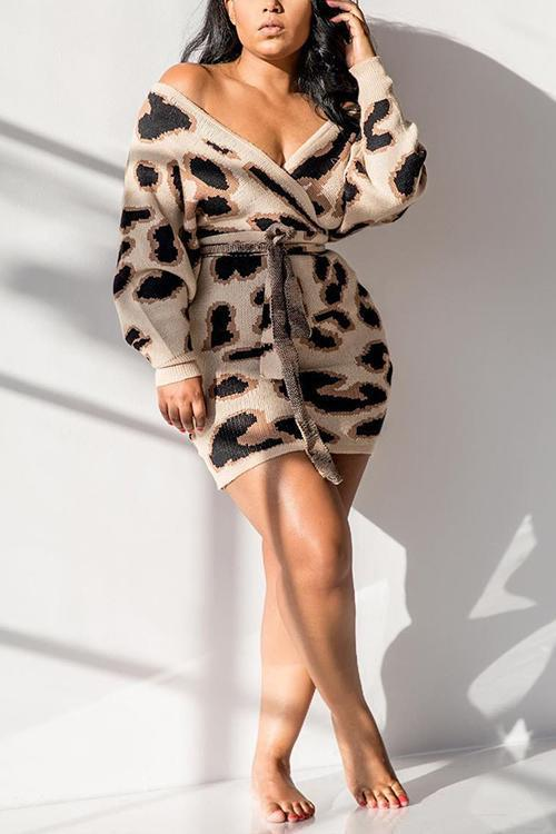 Leopard Backless Belted Mini Dress