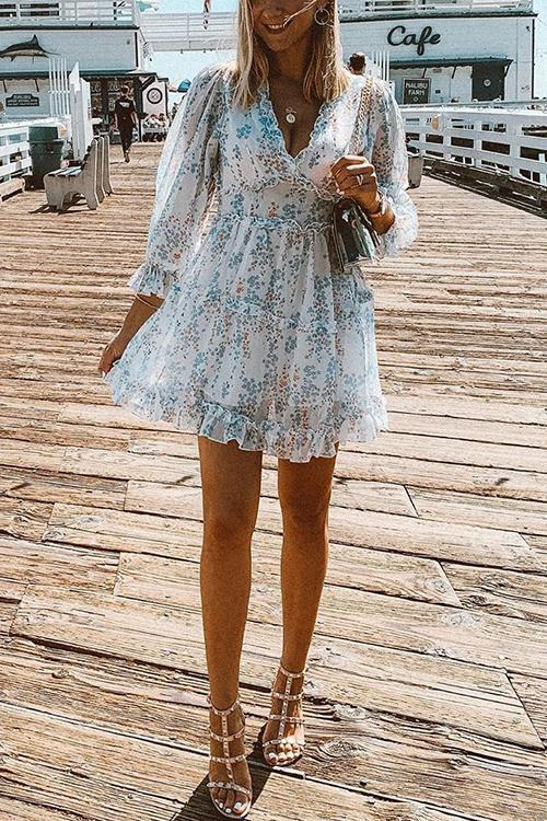 Print V Neck Backless Mini Dress