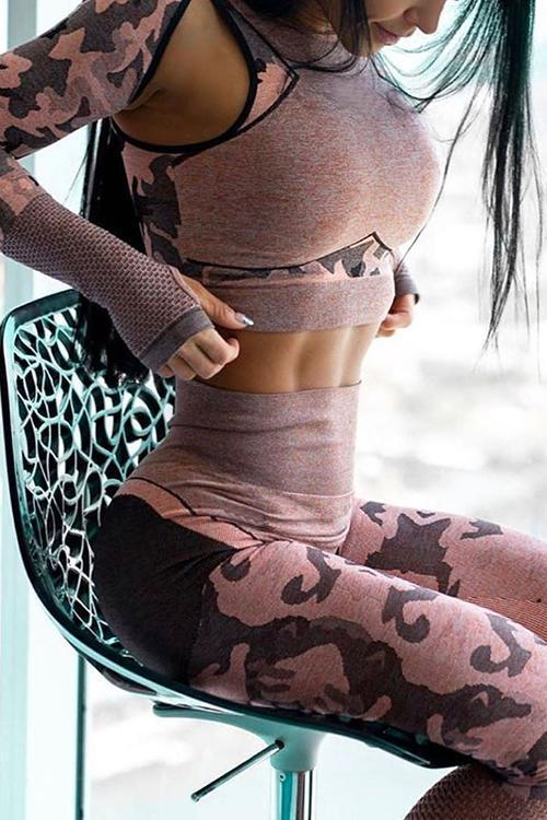 Camouflage Mesh Cut Out T Shirt Leggings Set
