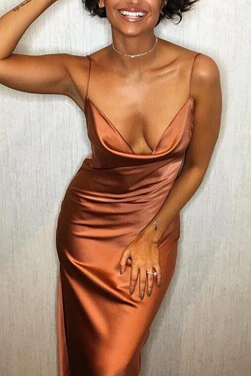 Side Slit Slip Maxi Dress