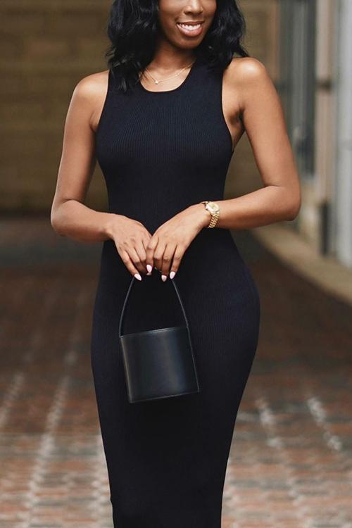 U Neck Sleeveless Bodycon Dress