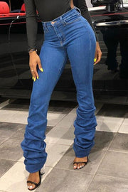 Simple High Waist Stacked Jeans