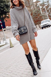 Cowl Neck Loose Sweater Dress