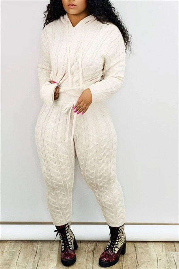 Solid Color Hooded Collar Knitted Pants Set
