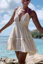 Ruffles Backless Slip Mini Dress