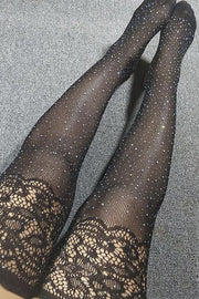 Rhinestone Lace Stockings