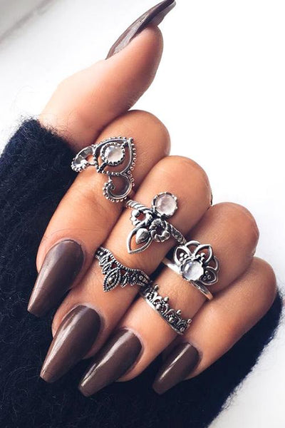 Lotus Crown Rings Set
