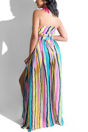 Colorful Stripe Slit Skirts Set