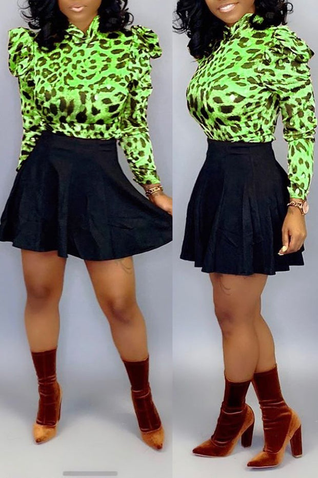 Leopard Print Pleated Mini Skirts Set