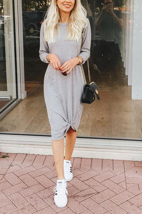 Knot Hem O Neck Long Sleeve Dress
