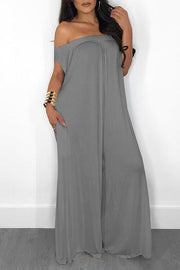 Pockets Off Shoulder Loose Jumpsuit