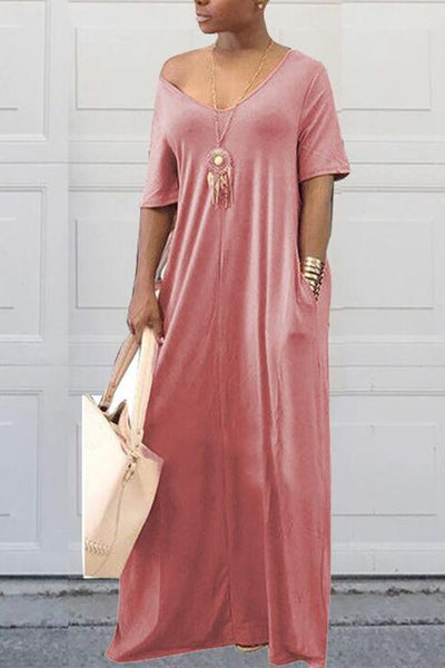 Pocket Boat Neck Loose Maxi Dress