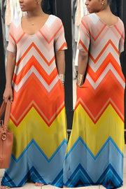 Pockets V Neck Color Block Maxi Dress