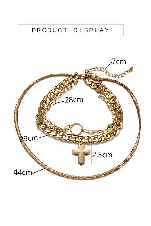 Chain Cross Layers Necklace