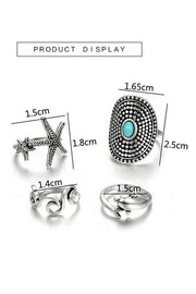Dolphin Starfish Rings Set