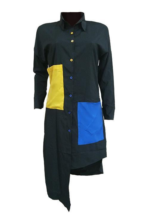 Irregularity Pocket Shirt Dress