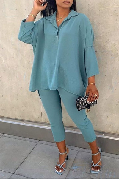 Irregular Hem Turndown Collar Shirt Pants Set