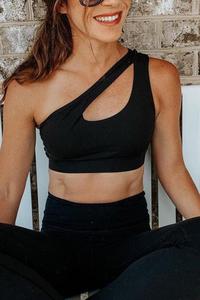Cut Out One Shoulder Sports Bra