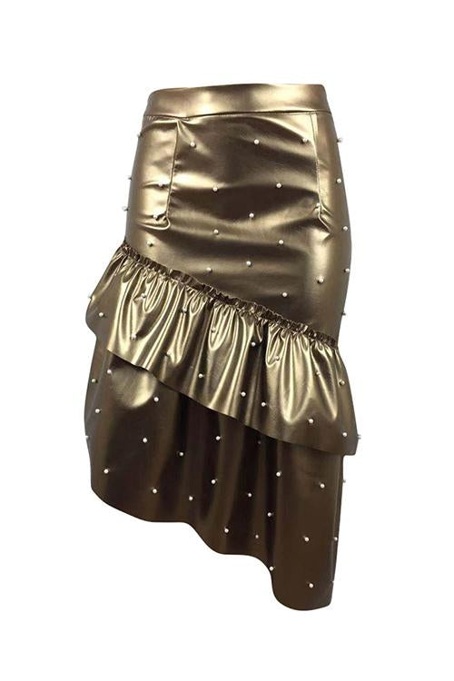 Irregular Hem Pearl Studded PU Skirt