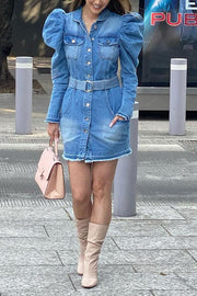 Denim Turndown Collar Puff Sleeve Belted Coat