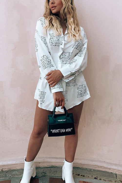 Letter Print Puff Sleeve Shirt Mini Dress