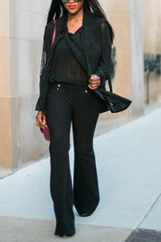 Button Wide Leg Pants