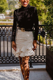 Dot Print Asymmetry Skirts