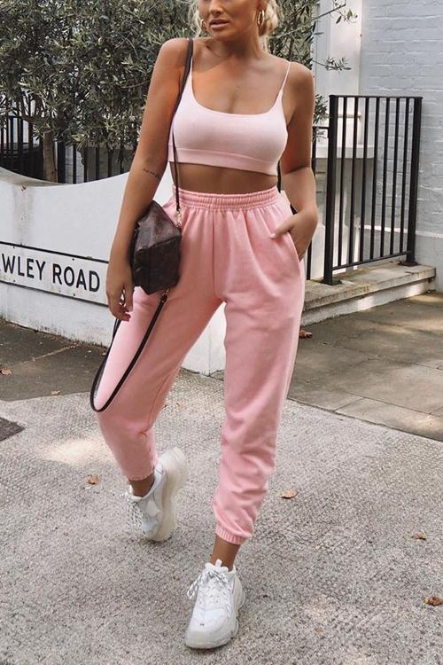 Candy Color Pockets Loose Joggers