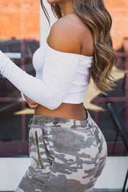 Camouflage Zipper Drawstring Jogger
