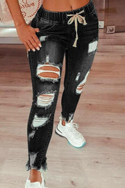 Ripped Drawstring Denim Jogger