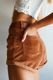 Corduroy High Waist Shorts