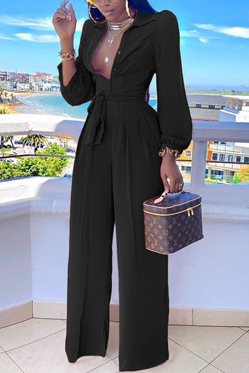Button Up Puff Sleeve Belted Jumpsuit