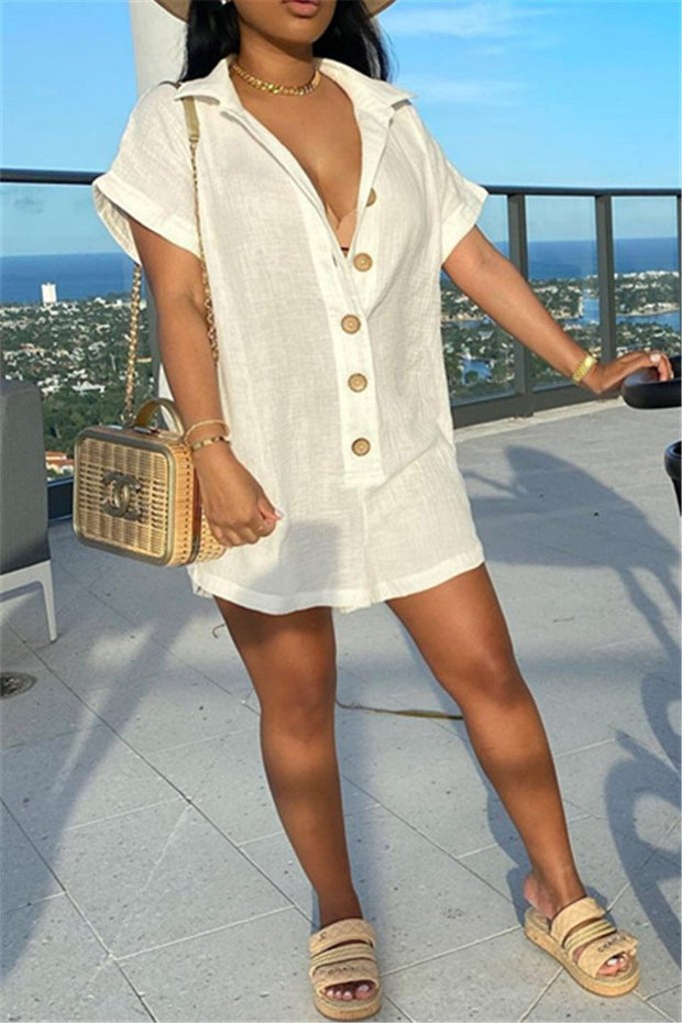 Linen Button Short Sleeve Romper