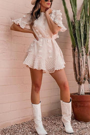 Pom Pom Short Sleeve Mini Dress