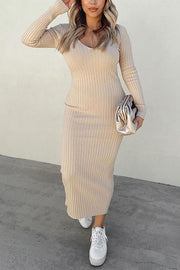V Neck Long Sleeve Slim Dress