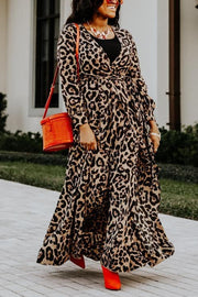 Leopard Long Sleeve Bleted Maxi Dress